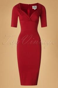 50s Trixie Pencil Dress in Wine