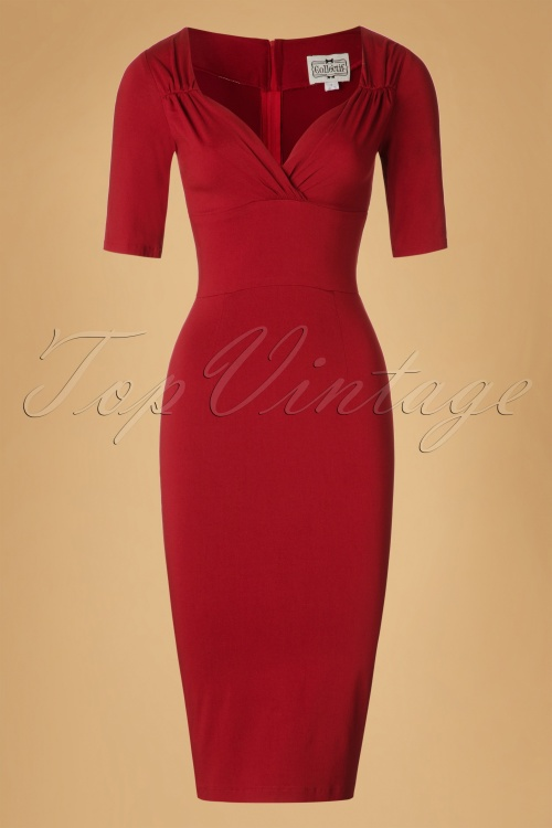 Collectif Clothing Trixie Pencil Dress in Wine 18871 20160531 0005W