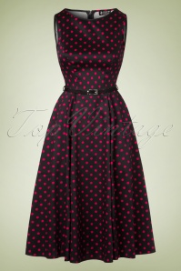 50s Hepburn Polkadot Swing Dress in Black and Pink