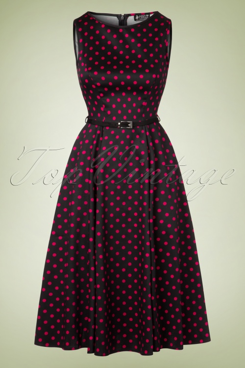 Lady V 50s Hepburn Black Pink Polkadot Swing Dress  102 14 20037 20161019 0011W
