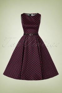 Lady V 50s Hepburn Black Pink Polkadot Swing Dress  102 14 20037 20161019 0007W