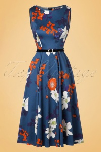 50s Hepburn Japanese Floral Swing Dress in Blue
