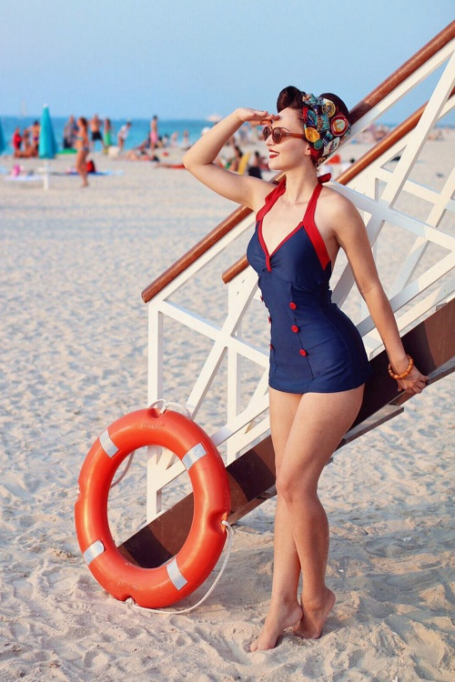 Esther Williams Navy Red Button Bathing Suit 161 31 18438 20160406 001