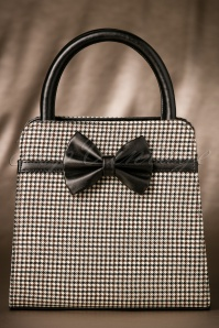 60s Stormy Weather Houndstooth Handbag in Brown