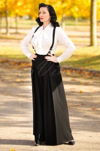 40s Shelley Suspenders Palazzo Trousers in Black