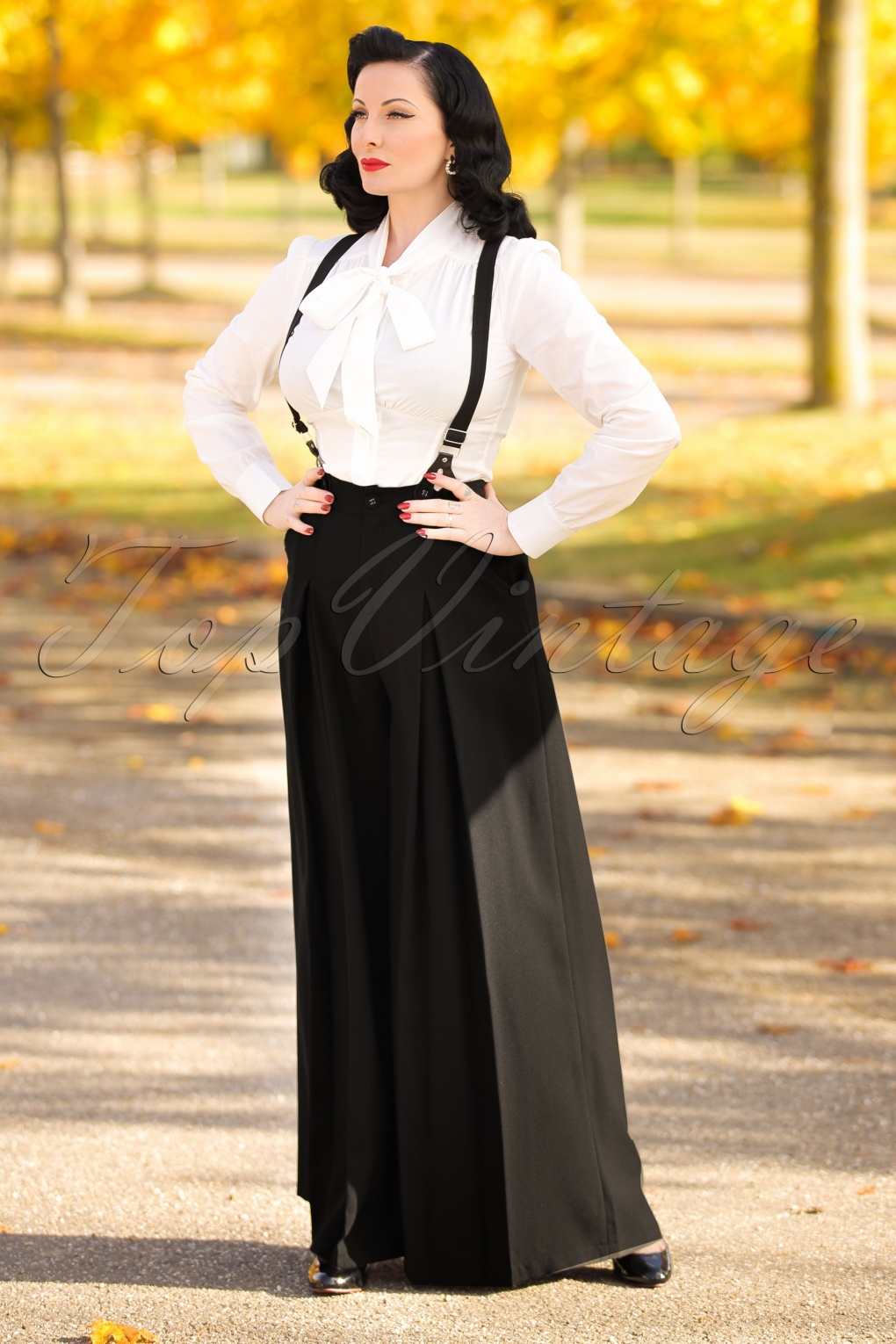 Vintage High Waisted Trousers, Sailor Pants, Jeans 40s Shelley Suspenders Palazzo Trousers in Black £44.04 AT vintagedancer.com