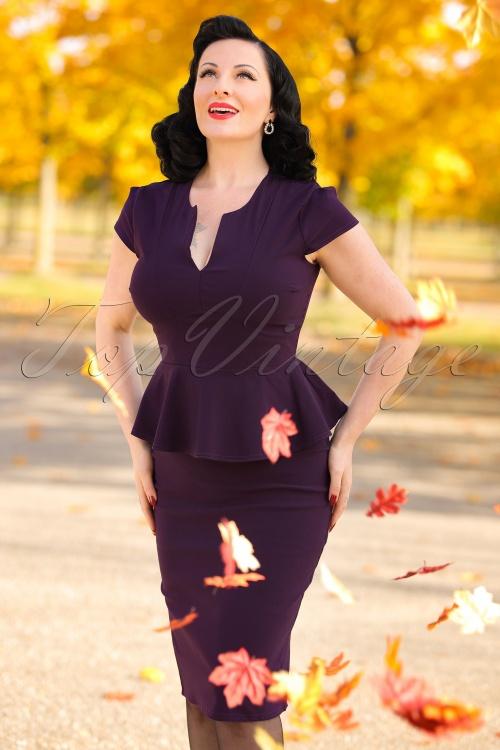 Vintage Chic Cap Sleeve Peplum Pencil Dress in Aubergine 100 60 19599 20160928 0006ModelfotoW