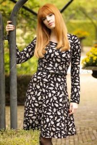 60s Fern Feathers Skater Dress in Black