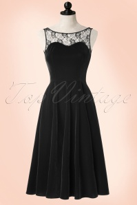 50s Romance Evening Velvet Dress in Black