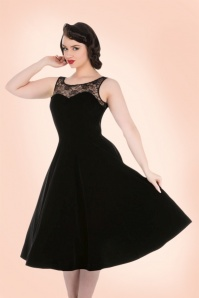 Hearts and Roses Black velvet Lace Swing Dress 102 10 19998 2