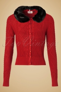 50s Lets Party Cardigan in Cherry Red