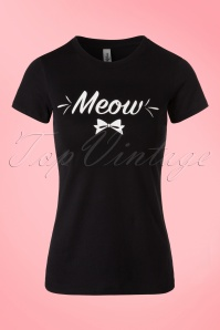 Kittees Meow Cat Black T shirt 111 10 20016 20161025 0001W