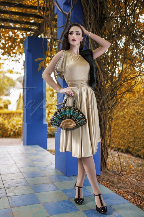 Zoe Vine 50s Gold Semi swing Dress modelfoto 2W