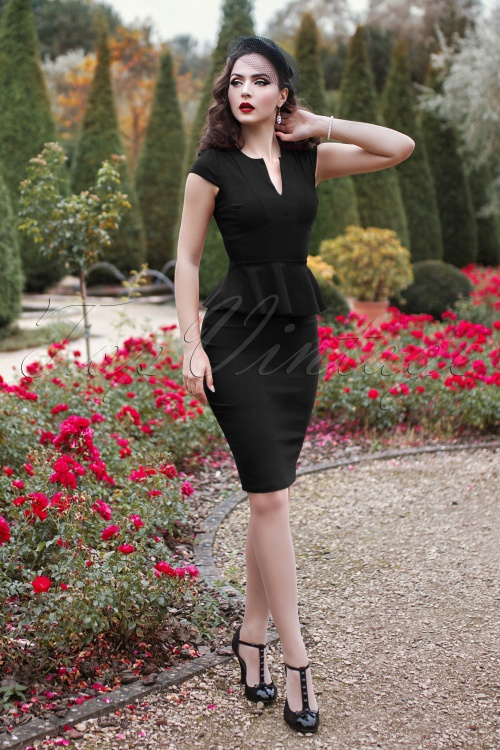 Vintage Chic Cap Sleeve Peplum Pencil Dress in Black 100 10 19598 20160928 2VW