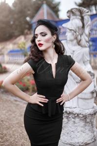 Vintage Chic Cap Sleeve Peplum Pencil Dress in Black 100 10 19598 20160928 1W