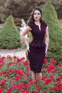 Vintage Chic Cap Sleeve Peplum Pencil Dress in Aubergine 100 60 19599 20160928 0009V