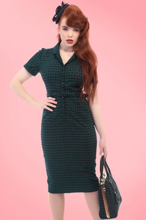 Collectif Clothing Catarina Chaise Check Pencil Dress 18933 20160531 model02