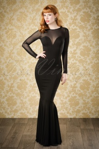 50s Morticia Fishtail Maxi Dress in Black