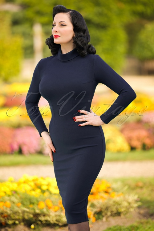 Glamour Bunny Lauren Pencil Turtleneck Dress in Navy 100 31 19690 20161025 0006w