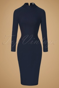 Glamour Bunny Lauren Pencil Turtleneck Dress in Navy 100 31 19690 20161025 0002w