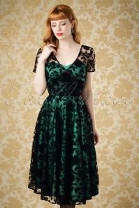 50s Nina Velvet Rose Swing Dress in Black and Emerald