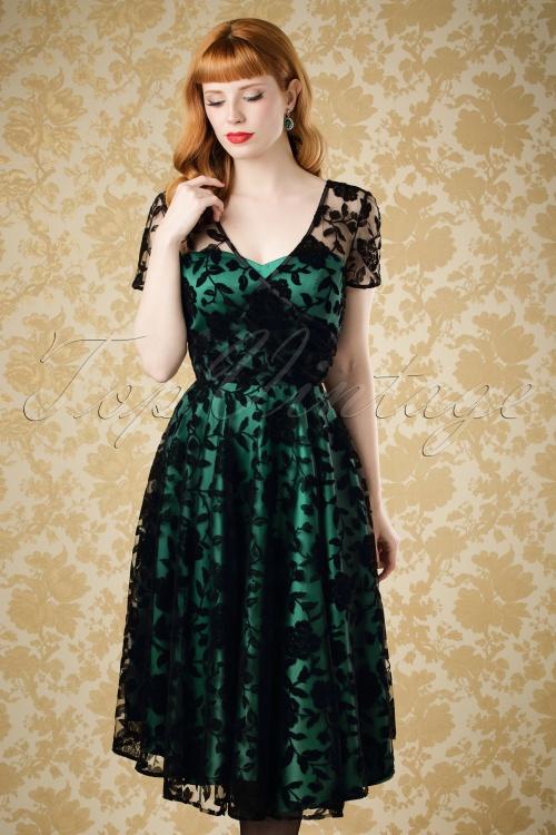 Collectif Clothing Erin Brocade Velvet Rose Dress 18968 20160602 0012cw