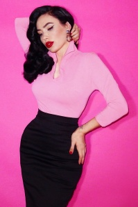 TopVintage Exclusive ~ 50s Vixen Top in Baby Pink