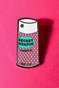 TopVintage exclusive ~ 50s Vixen Secret Weapon Hairspray Pin in Pink