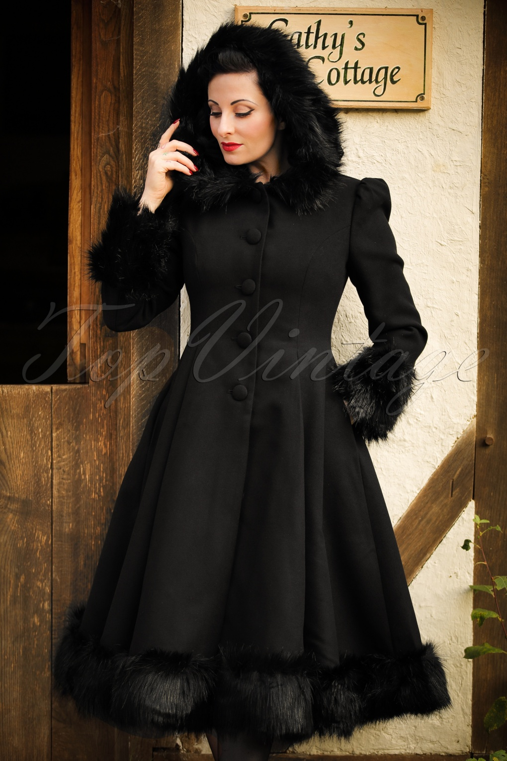 1930s Style Coats, Jackets | Art Deco Outerwear 30s Elvira Coat in Black £132.37 AT vintagedancer.com