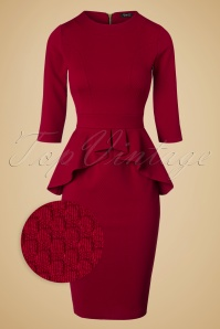 Vintage Chic Noddy Red Peplum Dress 100 20 19636 20161026 0003wv