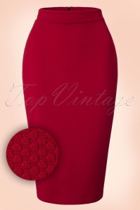 50s Joyce Pencil Skirt in Wine Red