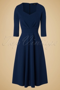 Vintage Chic Scuba Crepe Sweetheart Neckline Navy Dress 102 20 19596 20161026 0005w