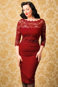 50s Linda Lace Pencil Dress in Red