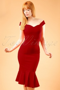 Collectif Clothing Josephine Fishtail Dress in Red 19929 20160531 0006wModelfotow