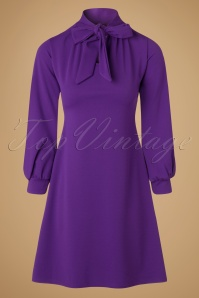 Vintage Chic Scuba Crepe Purple Tie Neck Dress 106 60 19624 20161031 0008w
