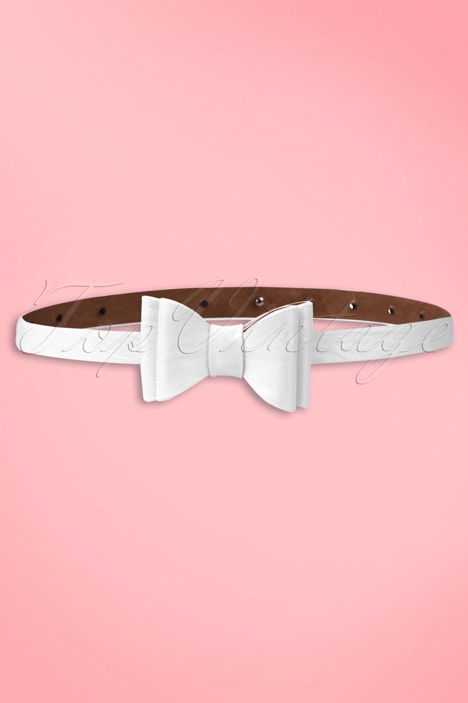 Vintage Retro Belts 50s Bow Belt in White £12.96 AT vintagedancer.com