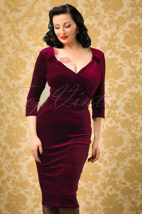 Vintage Chic TopVintage Exclusive Velvet Pencil Dress 100 20 19630 20161010 0010W modelfotow