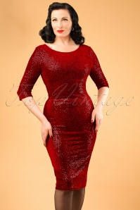 Vintage Chic Bodycon Dress Red Velvet Sequins 100 20 19617 20161010 0018 ModelfotoW