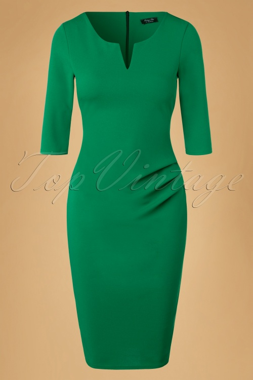 Vintage Chic Emerald Green Pencil Dress 100 40 20096 20161031 0003W