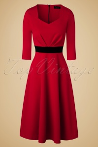 50s Ruby Swing Dress in Red and Black