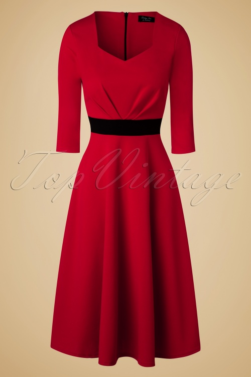 Vintage Chic Sweet Heart Red Black Dress 102 20 19597 20161031 0004w