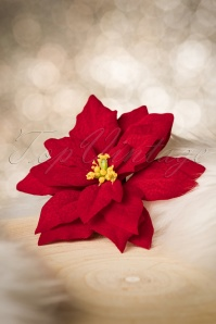 50s Poinsettia Hair Flower in Red