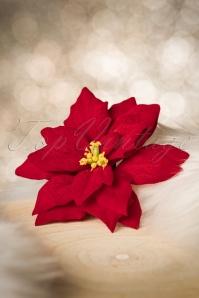50s Poinsettia Hair Flower in Red