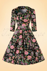 Hearts and Roses Black Floral Swing Dress 102 14 19996 20161031 0003W