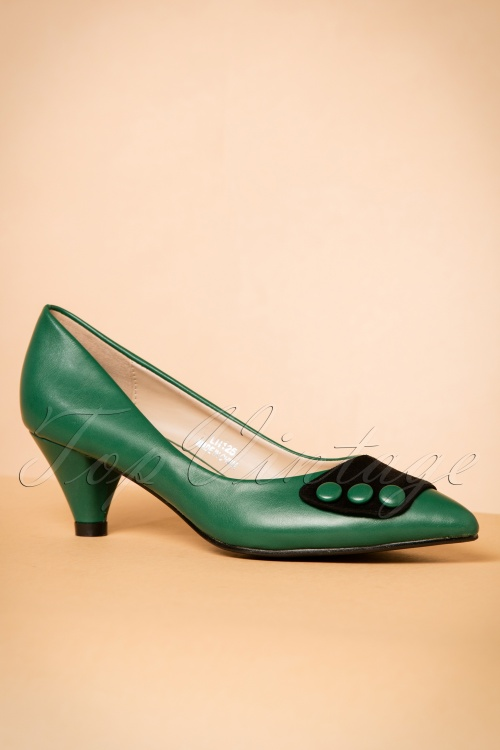 Emerald Green Kitten Heel Shoes
