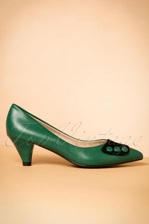 50s Belinda Kitten Heel Pumps In Green