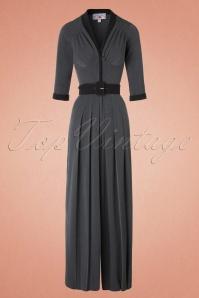 TopVintage Exclusive ~ 40 Gigi Jumpsuit in Grey and Black