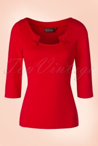 50s Irena Top in Bright Red