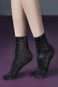 50s Midnight Metallic Socks in Black