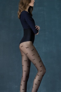 Fiorella 50s Delicious Bow Tights in Black